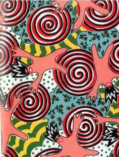 A screen print from the spring/summer 2005 collection by the Eley Kishimoto that is called 'Spinning Man'  A truly inspiring piece of textile design with a vibrant pattern and playful spinning motifs.