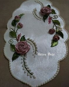 This Pin was discovered by Rey Ribon Embroidery, Ribbon Embroidery Tutorial, Hand Embroidery Dress, Hand Embroidery Patterns, Embroidery Stitches, Embroidery Designs, Ribbon Art, Ribbon Crafts, Crochet Hammock