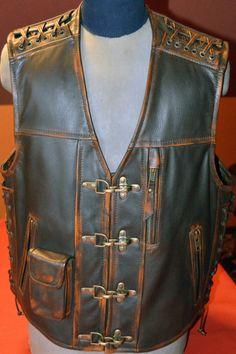 Handmade Biker vest motorcycle vest genuine by MPBikerTailor