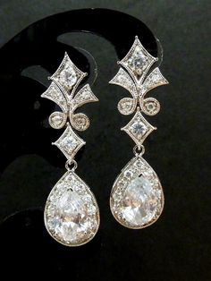 Bridal Earrings  Royal Style High Quality Large by JCGemsJewelry, $55.00