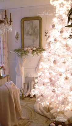 French Country Cottage Christmas Home Evening I want a white christmas tree Christmas Photo, French Country Christmas, White Christmas Trees, Cottage Christmas, Beautiful Christmas Trees, Shabby Chic Christmas, Christmas Holidays, Christmas Mantles, Christmas Villages