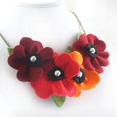 Felt Flower Necklace, Autumn Necklace, Deep Red and Orange Poppy Necklace, Felt Necklace, Fall Statement Necklace, Harvest Bib Jewelry by CraftyJoDesigns on Etsy https://www.etsy.com/uk/listing/480822379/felt-flower-necklace-autumn-necklace