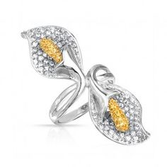 Calla Lily Citrine Color Flower Statement Jewelry Cocktail Ring #flower #floral