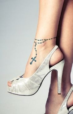 This is actually what I wanted with the rosary around the ankle :)
