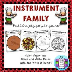 Instrument Families ~ Build a Pizza Pie Game is a fun game for students to review the instrument families. Instrument families included are Woodwind, Brass, String, Percussion, and Keyboard (can be used or not used). Simply cut out the slices, mix them up, and have students sort through them and place them on the correct crust.