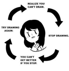 """It's true, I feel like I improve if I challenge myself also by drawing something difficult. I always get """"scared"""" and then get too afraid to show caricature and end up drawing the same face over and over. Drawing Tips, Drawing Reference, Artist Problems, Art Jokes, Funny Memes, Hilarious, Fandoms, Artist Life, Funny Comics"""