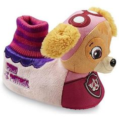 """Great gift for the Paw Patrol girl fan! She'll have a barking good time in this """"PAW Patrol"""" toddler girl's slipper from Nickelodeon. Featuring your little one's favorite pilot, Skye, these slippers o"""