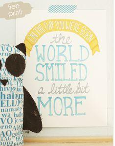 Free adorable kids room/nursery Das muss ich unbedingt für meinen kleinen Sohn ausdrucken und über sein Bett hängen!
