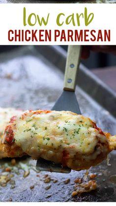 Low Carb Chicken Parmesan, Low Carb Chicken Recipes, Keto Chicken, Low Carb Recipes, Cooking Recipes, High Protein Low Carb, Low Carb Keto, Chicken Parmigiana, Diabetes Recipes