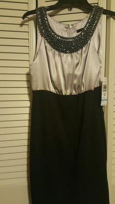 NWT Tiana B. Gray/Black 6p dress/ gorgeous neckline #TianaB #Sheath #Cocktail