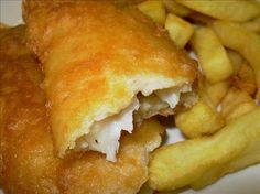 Real English Fish And Chips With Yorkshire Beer Batter Recipe - 4 cod fish fillets or 4 haddock fillets  6 ounces plain flour  1 teaspoon bicarbonate of soda  1 (8 fluid ounce) bottle british beer, Small  1/2 lemon, juice of  salt & pepper  extra flour  3 lbs potatoes, peeled & chipped  good quality cooking fat or oil