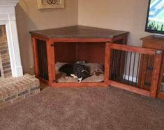 Corner Dog Kennel - in Quality and Customer Service - Hunde - Dogs Dog Kennel Cover, Diy Dog Kennel, Diy Dog Bed, Dog Kennels, Diy Kennel Indoor, Kennel Ideas, Tv Stand Dog Kennel, Dog Kennel Designs, Dog Crate Furniture