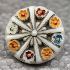 Handpainted Vintage Glass Button with Spoke Design and Flowers