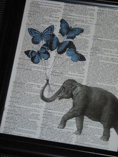 BOGO SALE Elephant Butterfly Print Elephant by HamiltonHousePrints, $9.50
