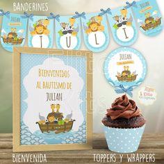 Kit Imprimible Arca de Noe, Decoración Bautismo Varón, 1 Año Baby Shower, Birthday Cake, Banners, Valentino, Christian Crafts, Babyshower, Birthday Cakes, Banner, Posters