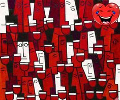 A large abstract #painting on the theme of partying and having fun. #Here a large number of people are enjoying themselves drinking red wine. Anyone who arrives i...