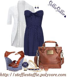 """""""Navy, White, Dots & Stripes"""" by steffiestaffie ❤ liked on Polyvore"""