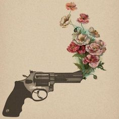 gun shooting flowers.. love love lov this tattoo idea, but I would get a vintage revolver with Mexican style roses in black/grey ink