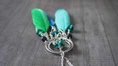 Green Dream Catcher Earring / Necklace Mix and by LaSistaBeads