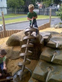 Archimedes screws not uncommon in children's play areas. This one on holiday in St. Austell from @Thomas Marban Carl Pion