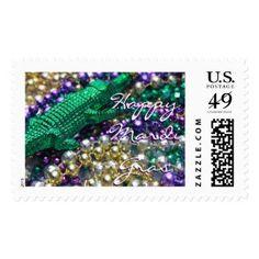 Happy Mardi Gras Green Gator Custom Postage Stamps