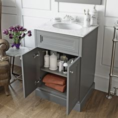 The Bath Co. Chartham slate grey floorstanding vanity unit and white marble basin Grey Bathroom Furniture, Furniture Decor, Curtains Or Shades, Wooden Magazine Rack, Back To Wall Toilets, Fiberglass Shower, Shower Curtain Rods, Wood Vanity, Gray Interior