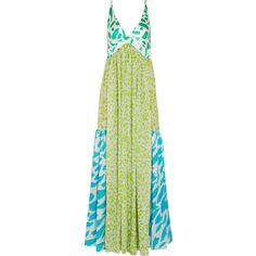 Missoni Printed silk maxi dress (3,815 CAD) ❤ liked on Polyvore featuring dresses, maxi dress, missoni, multi colored dress, patchwork dress, green silk dress, backless dress and multi color dress