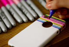 DIY tribal print phone case with colored sharpies