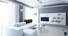 Contemporary Small Open Space Apartment Interior Quirky White Chandelier and Mounted TV LCD Also White Bookcase and Clean White Sofa White Sofa Set, Design Living Room, White Chandelier, Design Logo, Glass Top Coffee Table, Contemporary Chandelier, Layout, Apartment Interior Design, Wooden Walls