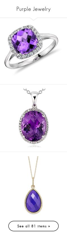 """""""Purple Jewelry"""" by draculaura ❤ liked on Polyvore featuring jewelry, rings, accessories, purple, anel, purple rings, amethyst jewelry, halo diamond ring, white gold jewelry and amethyst rings"""
