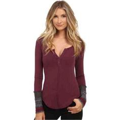 Free People thermal Brand new with tags. Free People ski lodge newbie cuff thermal. Size small. Plum color. Free People Tops Tees - Long Sleeve