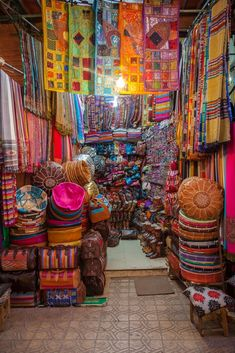 Bazaar Colours - Typical shop front found deep in the souk of Marrakech. Marrakech Souk, Marrakech Travel, Morocco Travel, Bohemian Living, Boho, Moroccan Decor, Cushion Fabric, Continents, Africa