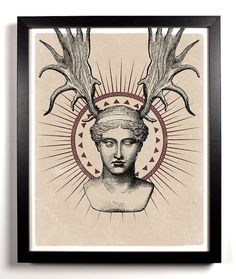 Aphrodite's Evil Twin Sister 8 x 10 Altered Engravings Art Print Upcycled Collage Antique Engravings Modified Buy 2 Get 1 FREE