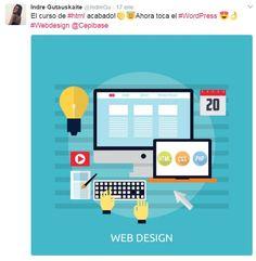 Después del curso de #HTML, Indre empieza con diseño web en #Wordpress. 😉💪 |http://www.cepibase.com