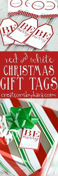 Free printable red and white Christmas gift tags. Add these pretty gift tags to your Christmas packages. via @creationsbykara.com
