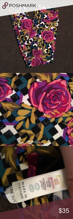 Lularoe Disney inspired roses OS leggings Just bought these new off of here and changed my mind on them. Brand new. Only tried on once. Never washed or worn out. Lots of colors to go with outfits- pink, purple, black, real, blue, white, light green, dark green, magenta LuLaRoe Pants Leggings