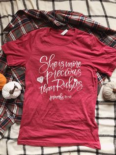 Excited to share this item from my shop: She Is More Precious Than Rubies Christian T shirt Ladies T shirt Womens T shirt Screen Print Soft T shirt Faith T shirt Heather Blend Tee Monogram T Shirts, Personalized T Shirts, Cute Tshirts, Tee Shirts, More Precious Than Rubies, Christian Shirts, Shirts With Sayings, Custom T, Cool Outfits