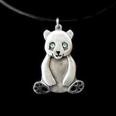 Sterling Silver Panda necklace cute panda pendant by NetaGilboa