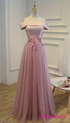 Charming Pink Satin and Tulle Off Shoulder Formal Dresses, Pink Party Dresses, Prom Dress PD20189308