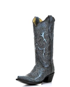 Corral Women's Black-Grey/Turquoise Embroidery Cowgirl Boots  http://www.countryoutfitter.com/products/50991-womens-black-grey-turquoise-embroidery-boot-a2792