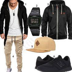 Street-Style für Männer mit schwarzem Zip-Hoodie, Casio Armbanduhr, Blend Herren-Übergangsjacke, beiger Betterstylz Cargohose, Djinns Cap und schwarzen New Balance Schuhen. #outfit #style #herrenmode #männermode #fashion #menswear #herren #männer #mode #m