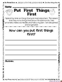 Seven Habits Writing Pages to be used with Leader in Me Más Leadership Notebook, Student Leadership, Elementary School Counseling, School Counselor, Elementary Schools, Social Emotional Learning, Social Skills, 7 Habits Activities, Physical Activities