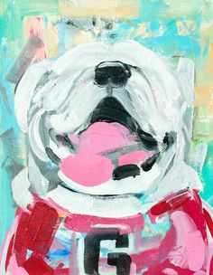 Chunky Uga University of Georgia Painting Print - can find University of georgia and more on our website.Chunky Uga University of Georgia Painting Print - Georgia Wallpaper, Painting Prints, Fine Art Prints, Paintings, Fb Banner, University Of Georgia, Georgia Bulldogs, Watercolor Paper