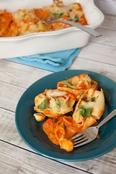 Cheesy Pasta Stuffed Shells - perfect casserole for a weeknight dinner or potluck!