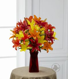 #bouquet whit Liliums red, orange and yellows is perfect to any occasion. https://www.facebook.com/DetalleFloral.IrisDesign?ref=hl #birthday #present #flowers