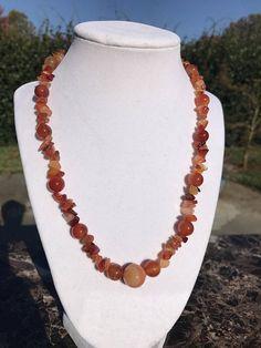 Orange Foil Lined Rectangle Glass Bead NecklaceEarrings Set