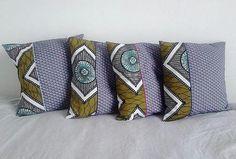 Série 4 coussins ethniques wax africain et plumes de paon - sur commande - déco ethnique - Une Embellie -