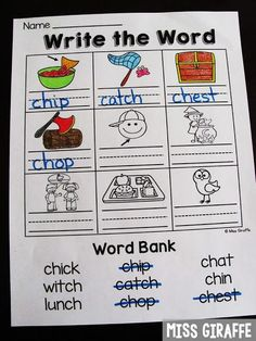 CH worksheets and so many fun digraphs activities for first grade or kindergarten 1st Grade Spelling, First Grade Phonics, First Grade Reading, Kindergarten Freebies, Kindergarten Language Arts, Teaching Kindergarten, Preschool, Teaching Reading, Guided Reading