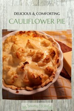 Savoury, comforting cheesy goodness. This cauliflower pie is the perfect dish to eat when you want some comfort food. When I was just a small child, we would have vegetarian Mondays. And this pie was one of my all-time favourites. It has everything you could want: cheese, eggs, milk, pastry and cauliflower. Cheesy Cauliflower, Mondays, Pie Recipes, Comforters, Milk, Eggs, Vegetarian, Dishes, Cooking