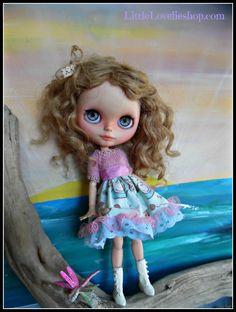 BLYTHE DOLL Dress - OOAK -Pink Mohair bodice on pussy cat flared skirt by LittleLovelieShop on Etsy